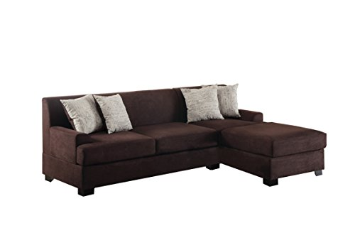 Poundex Bobkona Samuel Microsuede 3-Seat Reversible Sectional Sofa, (Chocolate Sectional)