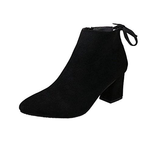Amcool Damen Blockabsatz Stiefel Lace Up Stiefeletten Schwarz