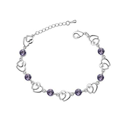 Platinum Decorative Heart Pan (Beydodo White Gold Plating Bracelet For Women (Link-Bracelets),Austria Crystal Love Heart Purple CZ 16CM)