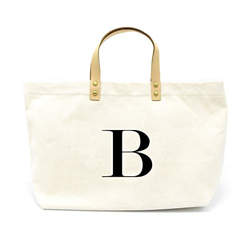 PumPumpz Canvas Tote Bag, Natural Color and Classic B Monogrammed Bag. - Which arrive you within 5 days (B)