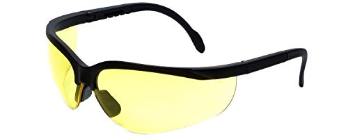 LEDwholesalers UV Protection Adjustable Safety Glasses with Yellow Tint, 7821 (Yellow Safety Glasses)