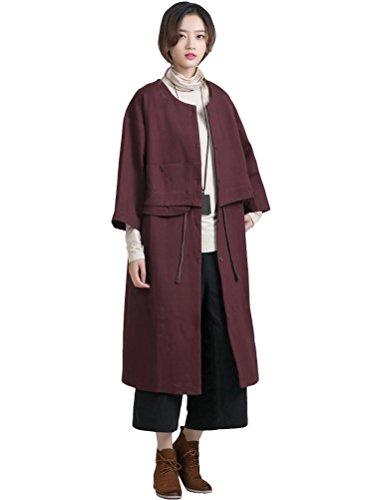 MatchLife - Abrigo - con botones - para mujer Style1-Wein