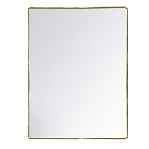 - Madeleine Home Salvo Decorative Wall Mirror | Designer Wall Mount Mirror with Gold Plated Frame | Perfect Accent Mirror for Bathroom, Powder Room, Hallway, Living Room | 18