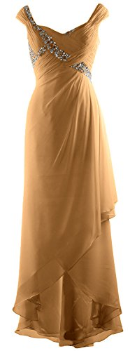 Neck Maxi Gown MACloth of Low High V Chiffon Bride Mother Elegant Dress Gold Formal 6qxwZCB6