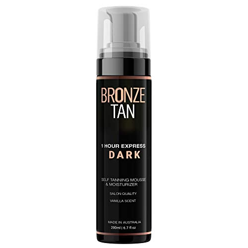 (Bronze Tan Dark Moisturizing Self Tanning Mousse and Sunless Tanner For Fair to Medium Skin Tones Salon Quality Vanilla Scented (200 ml/ 6.7 oz))