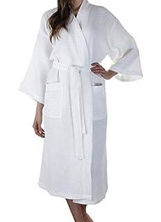 0d19f624b0 100% Cotton Waffle Weave Robe Kimono Spa Bathrobe Made in Turkey Diamond  Pattern Unisex (