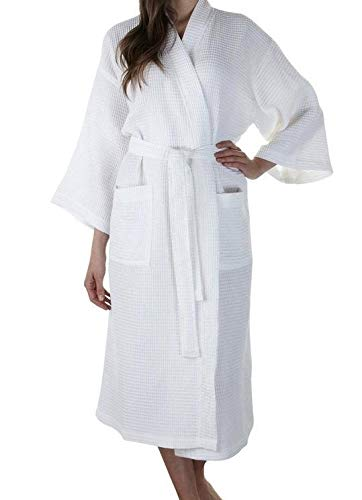 - 100% Cotton Waffle Weave Robe Kimono Spa Bathrobe Made in Turkey Diamond Pattern Unisex (White, Small / Medium)