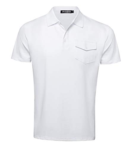 Musen Men Polo Shirts Classic Short Sleeve Sport T-Shirts Cotton Slim-fit Tops Golf Polos Sommer Tees for Men White Tennis Polo T-Shirt
