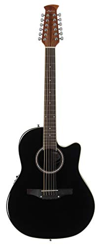 Ovation Applause 12 String Acoustic Guitar, Right, Black, Mid Depth Body (AB2412II-5) (Best Mid Range Acoustic Guitar)
