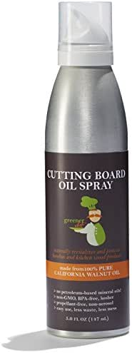 Greener Chef Food Grade Cutting Board Oil Spray and Butcher Block Oil Conditioner - All Natural Walnut Oil for Wood and Bamboo Chopping Boards - No Mess and Low Waste Spray - Made in USA