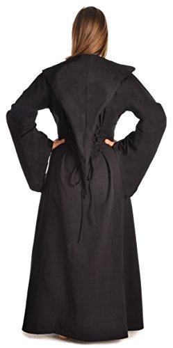 blau braun Schwarz weiß Mittelalter Damen Kleid XL Gugel S HEMAD Schnüren zum rot schwarz grün mit vaqTxnHA
