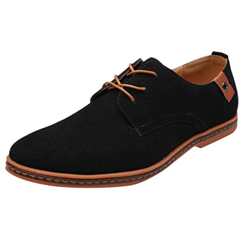 (Sunhusing Men's British Style Business Microfiber Dress Shoes Casual Lace-Up Flat Bottom Oxford Shoes Black)