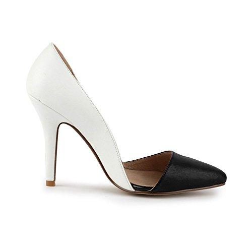 Miyoopark ,  Damen Durchgängies Plateau Sandalen mit Keilabsatz White/Black-9.5cm Heel