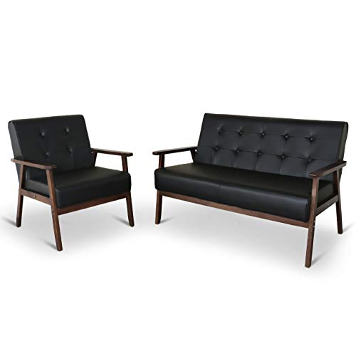 Mid-Century Retro Modern Living Room Sofa Set with Loveseat and Seating Sofa Chair, Couch and Lounge Chairs (Set Furniture And Sofa Leather Loveseat)