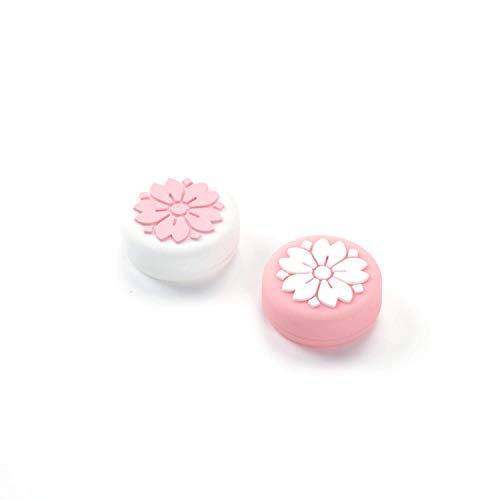 NSTang Joy Con Thumb Grip Set Joystick Caps for Nintendo Switch Sakura Silicon Stick Cap for Joy-Con Controller, White & Pink, 4 Caps