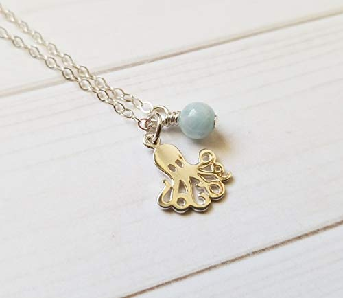 Octopus Necklace Sterling Silver with Aquamarine Stone, Gift for Ocean, Beach and Sea Life Lovers (Aquamarine Gift Genuine Box)