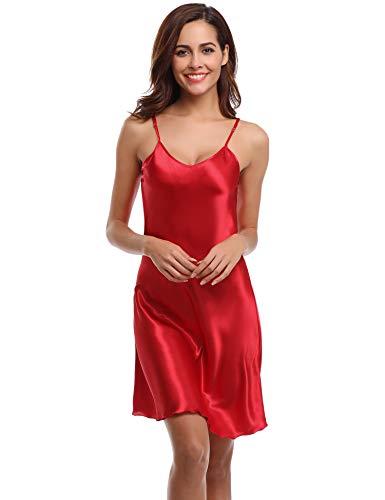 Aiboria Nightgowns for Women Satin Slip Sleepwear Nightshirt Sexy V Neck Spaghetti Strap Chemise Red