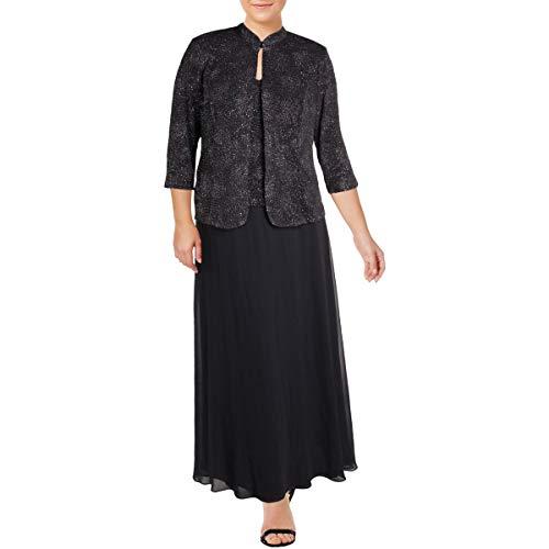Alex Evenings Women's Plus-Size Gown and Mandarin Jacket Set, Smoke, 14W