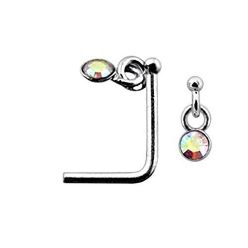 Rainbow Danling Gemstone Top 22 Gauge Silver L Shape - L Bend Nose Stud Nose Pin - Gemstone Nose Pin
