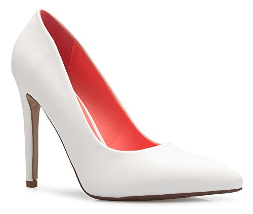 OLIVIA Toe Heel Casual Comfortable D'Orsay Closed White Stiletto Classic Pump High K Women's Pu rw1qrX