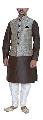 MAG Men'S Brown Silk Kurta Pyjama With Grey Jacket 36 Brown Clean Dupioni Silk