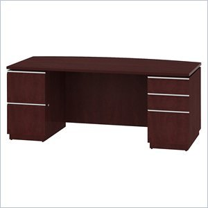 Bush Milano Harvest - Bush Double Pedestal Bow Front Desk, 71-1/8-Inch by 36-1/8-Inch by 29-5/8-Inch, Henna Cherry
