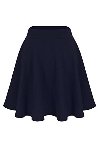 Basic Solid Stretchy Cotton High Waist A-line Flared Skater Mini Skirt (L, Navy) ()