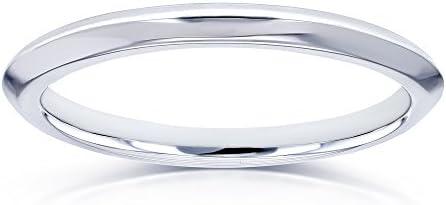 Kobelli V-Edge Solid 14k White Gold Band