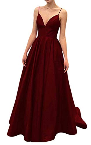 Ri Yun Women's Spaghetti Strap V Neck Prom Dresses Long 2019 Satin A-line Evening Formal Gown with Pockets Burgundy ()