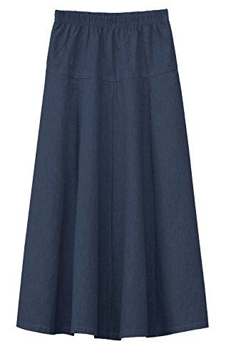 Baby'O Girls Ultra Soft Lightweight Denim Fit and Flare A-Line Maxi Skirt - Blu - XL