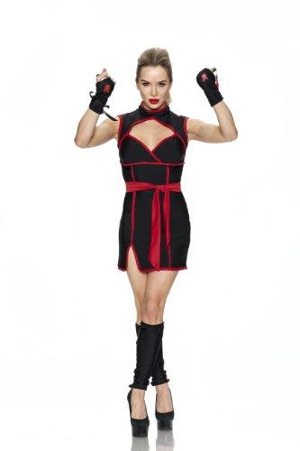 [Playboy Ninja Costume, Black/Red, Small] (Playboy Bunny Costume Red)
