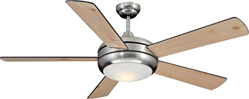 Craftmade Ceiling Fan with Light TIT52SCH5LKRCI, Titan Satin Chrome 52 Inch and Remote Control