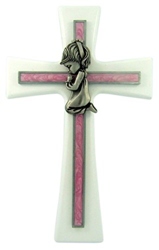 White Walnut Wall Cross with Pink Epoxy Overlay and Praying Girl, 7 Inch
