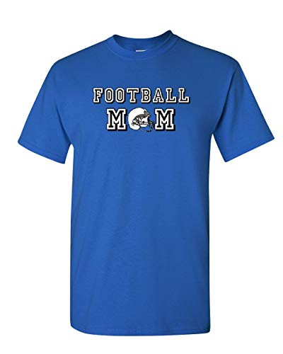 (Football Mom T-Shirt Varsity Football Mother Cheerleader School Mens Tee Shirt Royal Blue 2XL)
