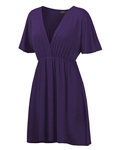 - WDR1338 Womens Short Sleeve Kimono Style Dress Top M Dark_Purple