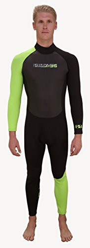 US Divers Jester Wetsuit Full, Black / Neon Green , Large