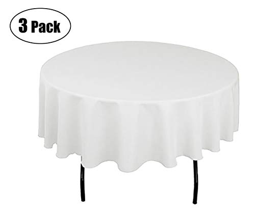 Minel Disposable Party Table Cloths Round 84 Inches 3 Pack White
