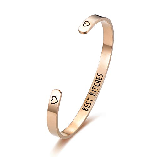 c80b7dd9adb ... DODIY Friendship Gift Bracelet Cuff Bangle - Rose Gold Best Bitches  Hand Stamped Stainless Steel Personalized