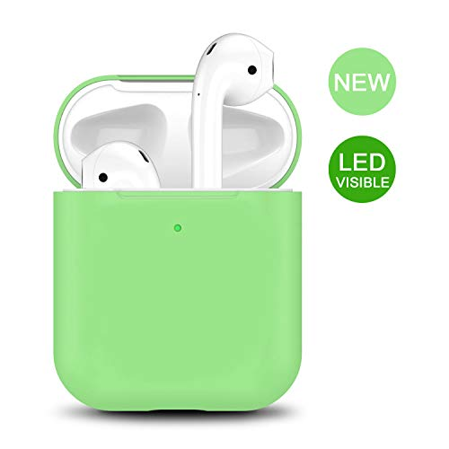 Airpods Case 2 & 1, 2019 Newest Airpod Full Protective Silicone Skin Cases Cover by Camyse Shockproof Compatible with Apple Airpods Charging Case Front LED Visible (Spearmint)