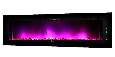 "LED Electric Fireplace Wall Mountable 50"" x 24"" Steel Frame - Remote Control Heat, Flame Size and Multiple Color Settings for Flame and Bed Media- 120v Model SCW-50A-cf"