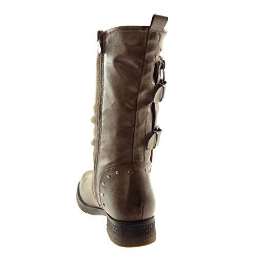fibbia con Biker Heel donna Zip 3 riempito all'interno Boot Block Chiusura Fashion con materiale Cm 5 Scarpa Bi borchie Angkorly kaki coperta xf4pqp