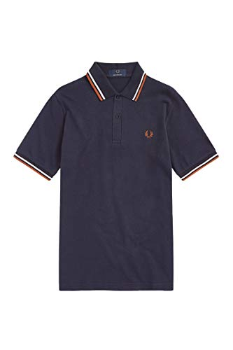 (Fred Perry Made in England Twin Tipped Polo Shirt, Style M12, Navy with Ecru and Paprika Stripes, Size 46)