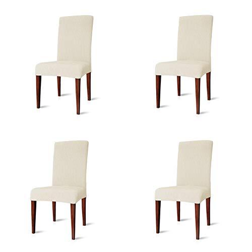 - Enova Home Fashion Elegant Knitting Jacquard Polyester Spandex Fabric Stretch Box Cushion Dining Chair Slipcover (Ivory White, 4)