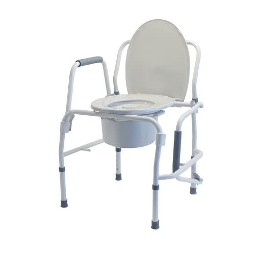 Image of Lumex Silver Collection 3-in-1 Bedside Commode, Raised Toilet Seat, and Toilet Rails, 300 Pound Capacity, 6433A