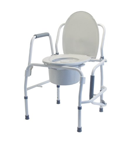 Lumex Silver Collection Steel Drop Arm 3-in-1 Adjustable Medical Bedside Commode Toilet, 6433a