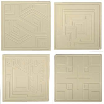 Hindostone Products-CoasterStone AS9680 Frank Lloyd Wright Etched Textile Blocks Absorbent Coasters