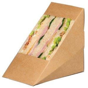 PacknWood Kraft Triple Sandwich Wedge Box with Window, 4.8'' x 3.2'' x 4.8'', Brown (Case of 500) by PacknWood