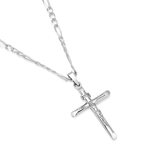 XP Jewelry Men's Sterling Silver Crucifix Pendant Figaro Chain Necklace Italian Made - 080-3mm - 30