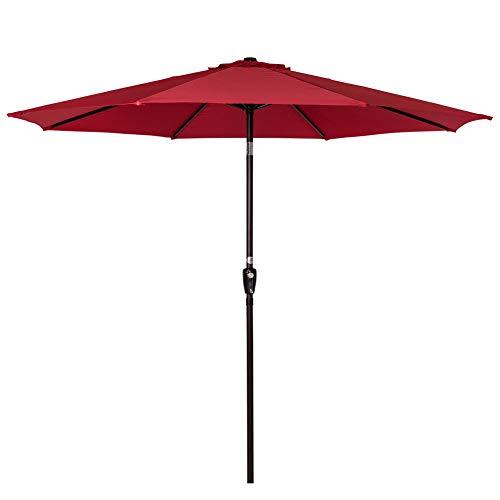 Sundale Outdoor 9 Feet Aluminum Market Umbrella Table Umbrella with Crank and Push Button Tilt for Patio, Garden, Deck, Backyard, Pool, 8 Steel Ribs (Red-N)