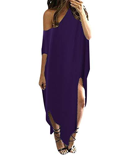 ZANZEA Women Off Shoulder Maxi Dress Irregular Loose Casual Side Split Sundress Summer Kaftans Beach Cover Up Purple XL